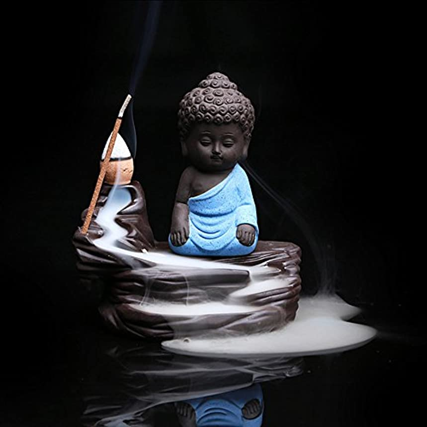 保全蜜瞑想するZehuiホームデコレーションクリエイティブ逆流香炉コーンスティックホルダーSmall Buddhaセラミック香炉ホーム装飾 ブルー mhy-ZJ1204-jj125