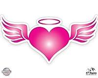 ピンクAngel Heart with Wings–ビニールステッカー防水デカール