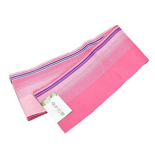 訳あり 半幅帯 浴衣帯 地模様有 リバーシブル 女性 ピンク縦縞
