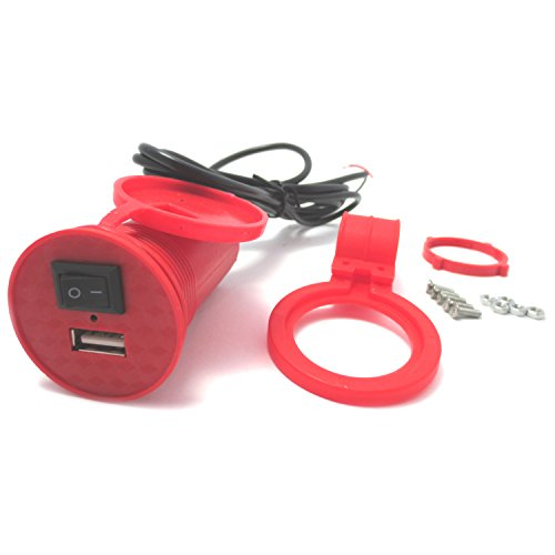 (maxima★select) バイク 汎用 最急速充電器 防水 USB ソケット リングステー付き 5v 2.5A 動作確認済 (赤 【 レッド 】)