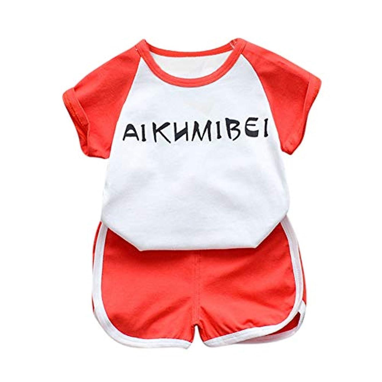 忘れっぽい勃起体細胞Rad子供 サマーキッズベビーボーイズカジュアル半袖レタープリントTシャツトップス+ショーツコスチュームセット
