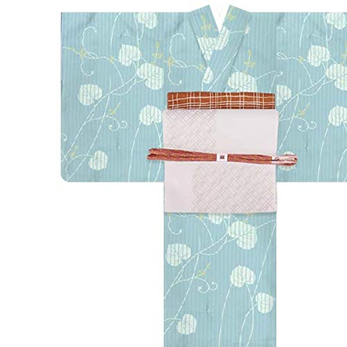 洗える着物 4点セット コーディネートセット【袷着物/名古屋帯/帯揚げ/帯締め】Lサイズ 12青磁色に縞・山ぶどう