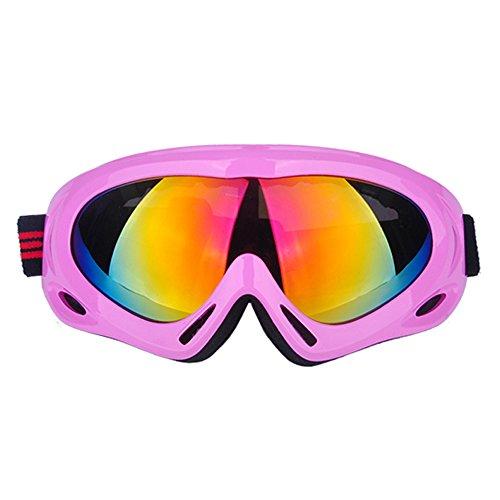 (エクスエイ)X.A スキーゴーグル スノボートゴーグル スノーゴーグル バイク用 ヘルメット可 UVカット UV400 耐衝撃 防塵 防風 アンチグレア 男女兼用 ゴーグル拭き ゴーグル保護袋 ゴーグルケース 4点セット (ピンク)