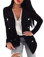 Sodossny-JP 女性ソリッドワークオフィスロングスリーブウールブレザーオープンフロントジャケットコート Black L