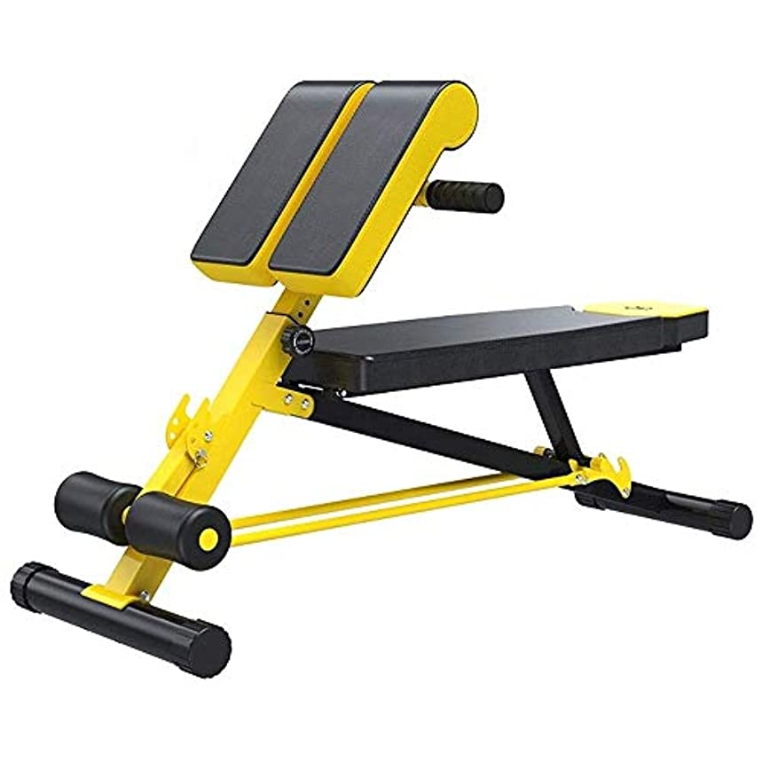 南西カート手数料ホームフィットネス機器ローマンチェアローマンチェアフィットネスベンチライト商業用グレードバックウエストトレーナースポーツチェアPsoas(黄色)