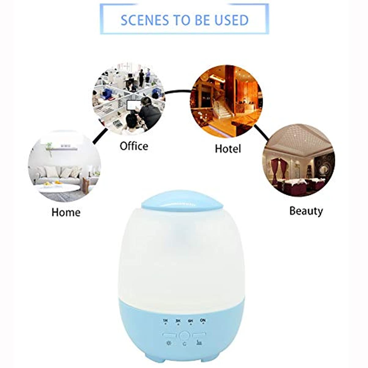印象的な増幅する援助するエッセンシャルオイルディフューザーと加湿器、ミストエッセンシャルオイルアロマ加湿器用の超音波アロマディフューザー、7色LEDライト,Blue