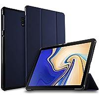 IVSO Samsung Galaxy Tab S4 10.5 SM-T830 (Wi-Fi)/SM-T835 (LTE) タブレット ケース 新型 Samsung Galaxy Tab S4 10.5 SM-T830 カバー NEWモデル スタンド機能付き 保護ケース 三つ折 マグレット開閉式 薄型 超軽量 全面保護型 サムスン Galaxy Tab S4 10.5 SM-T835 スマートケース ネイビー
