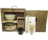 抹茶碗と棗が選べる 茶道具揃え 茶棚付き 茶道具 (【美濃焼白】抹茶碗, 棗【黒塗】高台寺蒔絵)