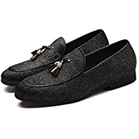 CHENDX Shoes Classic Driving Anti Slip Loafers for Men Gommino Slip on Suede Upper PU Leather Pointed Toe Tassels Shallow Party Personality Chic Block Heel (Color : Black, Size : 5.5 UK)