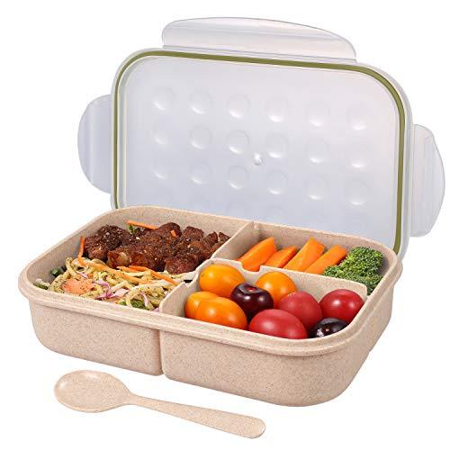 弁当箱 ランチボック 麦わら繊維 大容量 1150ml 軽量 漏れ防止 ポータブル スプーン付き (トウメイ )