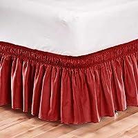 ゴム用フリル付きベッドスカートDust Easy Fit /クイーンサイズ/レッド