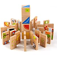 MEIGO 幼児用玩具 – ベビーキッズ木製教育用幼稚園ドミノ形状パズルマッチングゲームビルディングブロック 1 2 3 4-5歳の男の子女の子用 (32個)