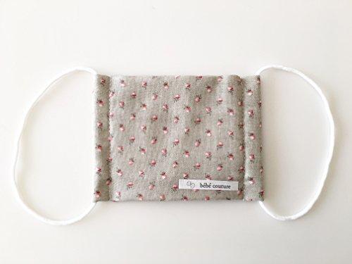 ベベクチュール(ベビー用品専門店)日本製幼児用サイズマスクカーキ花柄コットンガーゼ100%