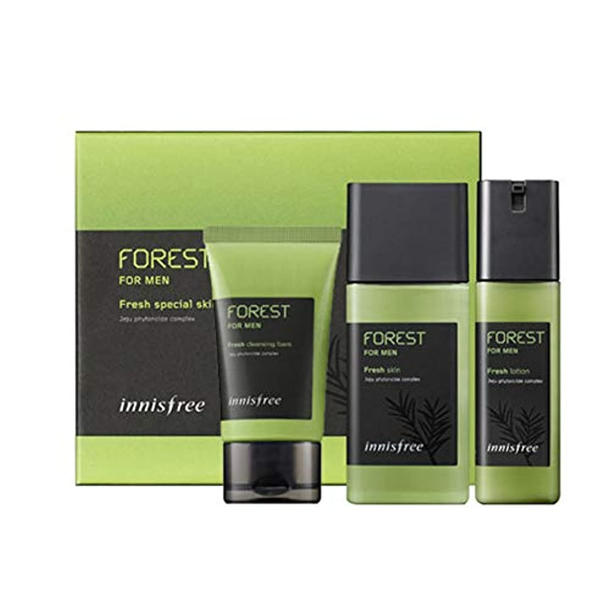 接触ストライプいつもイニスフリーフォレストフォーマンフレッシュスキンケアセットスキンローションクレンジングフォームメンズコスメ 韓国コスメ、innisfree Forest for Men Fresh Skincare Set Skin Lotion...