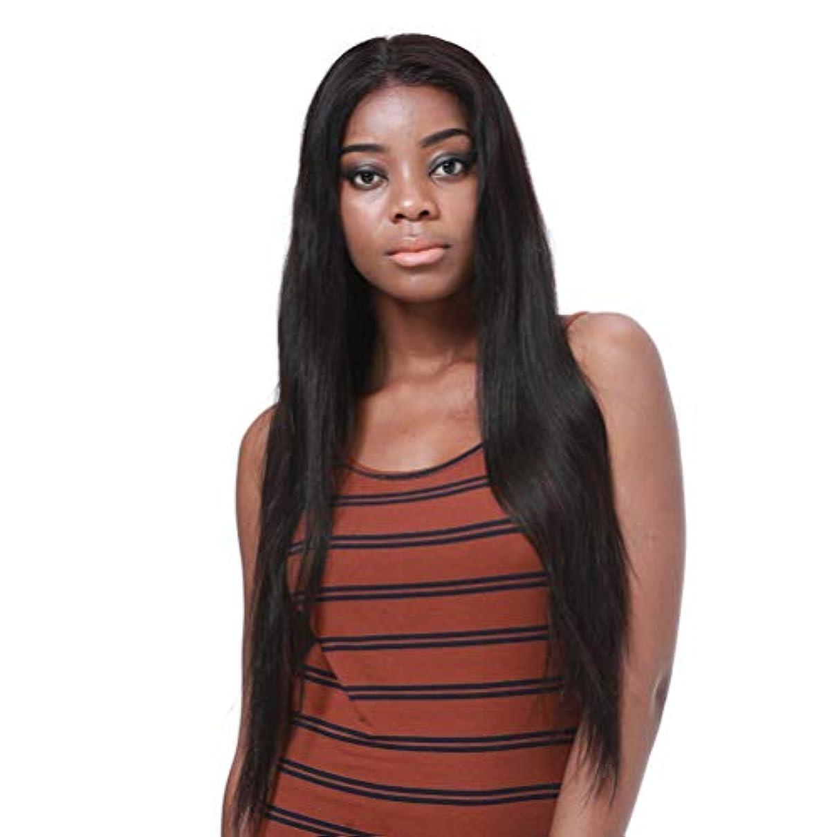 合成耐熱天然高品質かつらのためのフロントレースかつら女性の長いストレートの髪