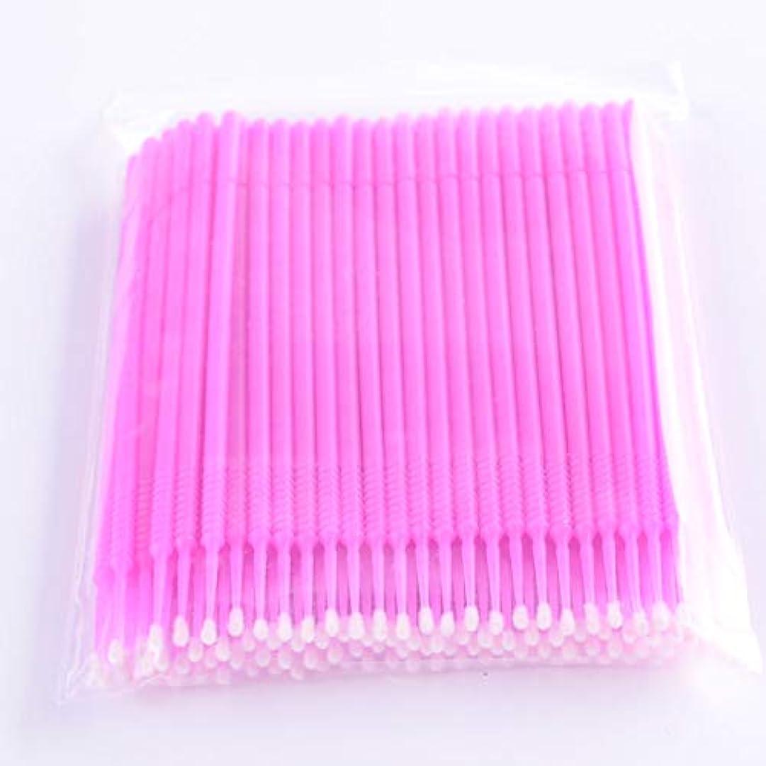 レンズ夫婦不十分なPLATINA LASH マイクロスティック 100本入り マイクロブラシ 使い捨て極細綿棒アプリケーター まつげエクステ用 (Fine/Pink)