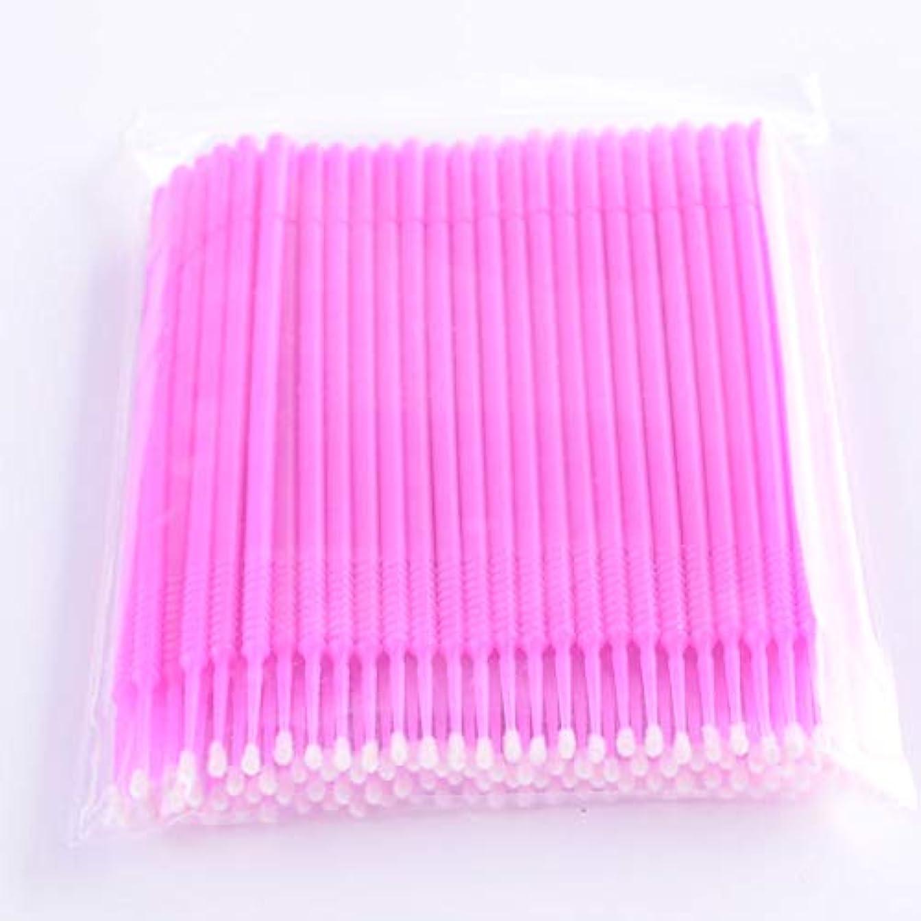 宗教的な入学するアルカイックPLATINA LASH マイクロスティック 100本入り マイクロブラシ 使い捨て極細綿棒アプリケーター まつげエクステ用 (Fine/Pink)