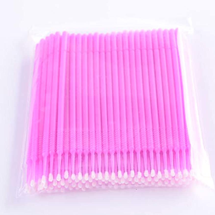 小さな大使フレアPLATINA LASH マイクロスティック 100本入り マイクロブラシ 使い捨て極細綿棒アプリケーター まつげエクステ用 (Fine/Pink)