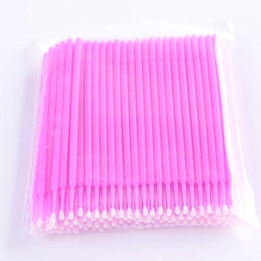 あらゆる種類の定規ホテルPLATINA LASH マイクロスティック 100本入り マイクロブラシ 使い捨て極細綿棒アプリケーター まつげエクステ用 (Fine/Pink)