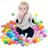 a-cool 80個カラフルな海洋ボール赤ちゃんキッズ子供ソフトプラスチック誕生日パーティイベントPlaygroundゲームプールベビータッチ& Feel Toys (ストレージバッグIncluded )