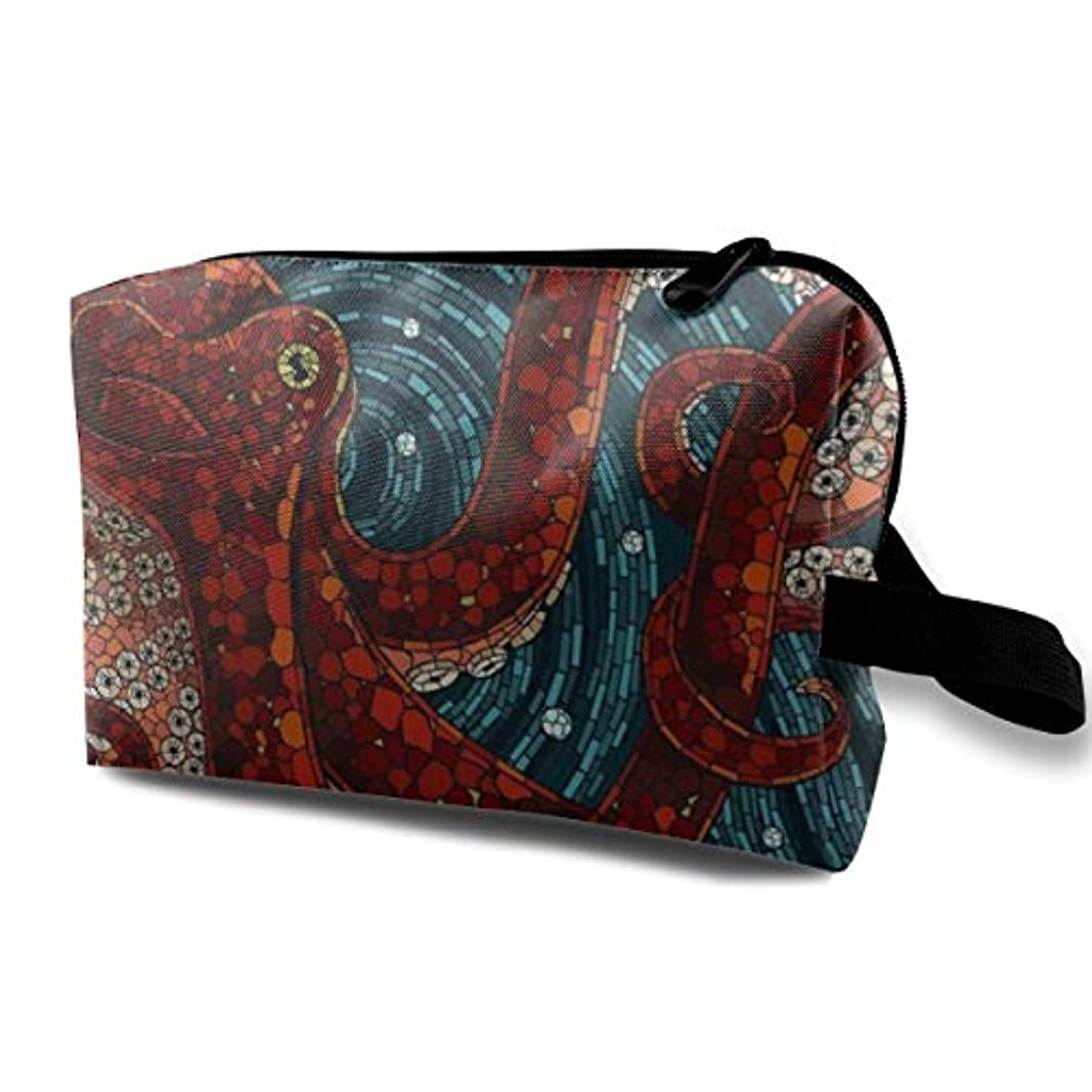乳製品言うまでもなくおとうさんRed Octopus 収納ポーチ 化粧ポーチ 大容量 軽量 耐久性 ハンドル付持ち運び便利。入れ 自宅?出張?旅行?アウトドア撮影などに対応。メンズ レディース トラベルグッズ