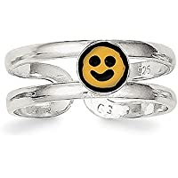 Lex & Lu Sterling Silver Yellow & Black Enameled Smiley Toe Ring