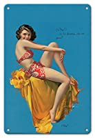 22cm x 30cmヴィンテージハワイアンティンサイン - はい! - ハワイのピンアップグラマーガール - 1937ブラウン&ビゲローカレンダー - によって作成された ロルフ・アームストロング c.1937