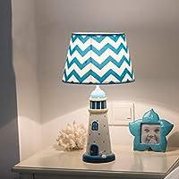 RXY-101 地中海スタイル子供部屋寝室のベッドサイドテーブルランプ調光対応暖かい灯台装飾テーブルランプ (Color : 白, サイズ : 36x19cm)