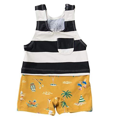 75506523763 OCEAN&GROUND(オーシャン&グラウンド) ベビー グレコ水着 赤ちゃん 男の子 キッズ オール 水遊び プール スイムウェア 80 ボーダー  50848215 レイヤードデザインが ...