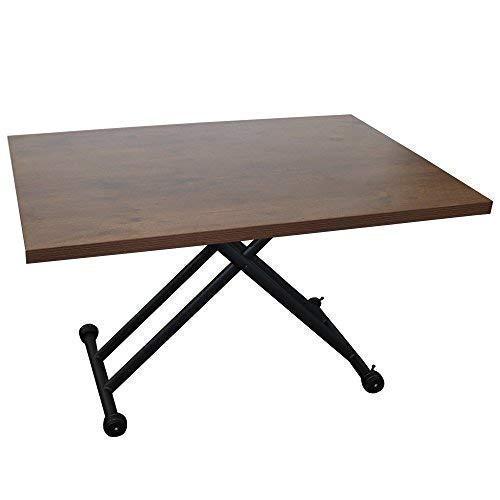 ガス圧昇降テーブル ブラウン 幅120×奥行80×高さ10~71.5cm / ダイニングテーブル 無段階 ガス圧昇降式 テーブル