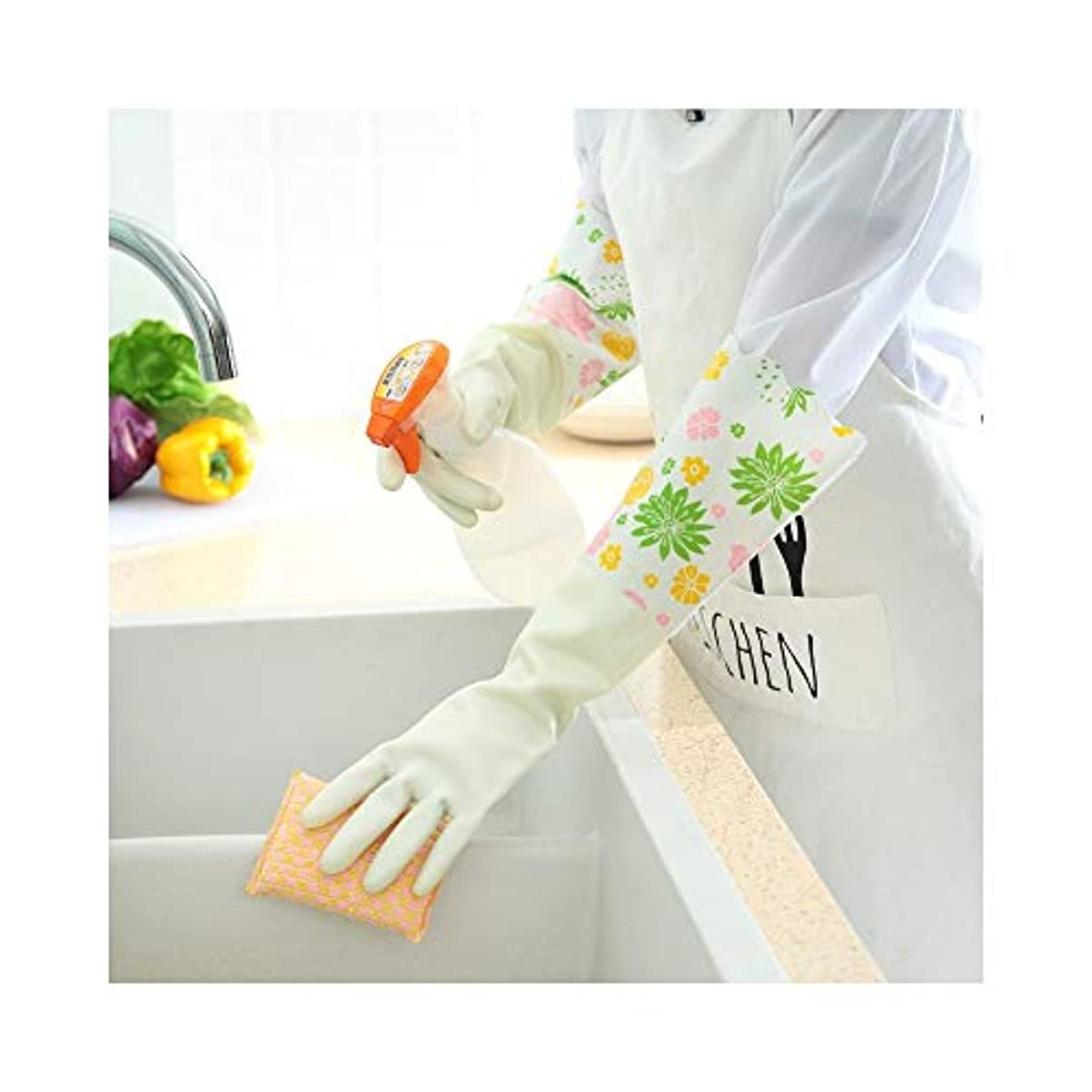 差別予防接種同盟使い捨て手袋 キッチン用手袋防水性と耐久性のあるゴム製家事用手袋、1ペア ニトリルゴム手袋 (Color : GREEN, Size : L)