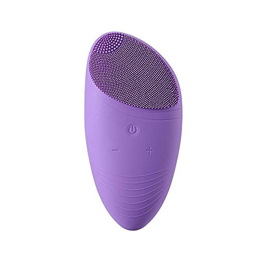 上昇オゾン確執洗顔ブラシ 再充電可能な防水有機シリコーンの顔の清潔になるブラシが付いている音波の表面洗剤そしてマッサージャーのブラシ ディープクレンジングスキンケア用 (色 : 紫の, サイズ : 8.6*8.2*2.45cm)