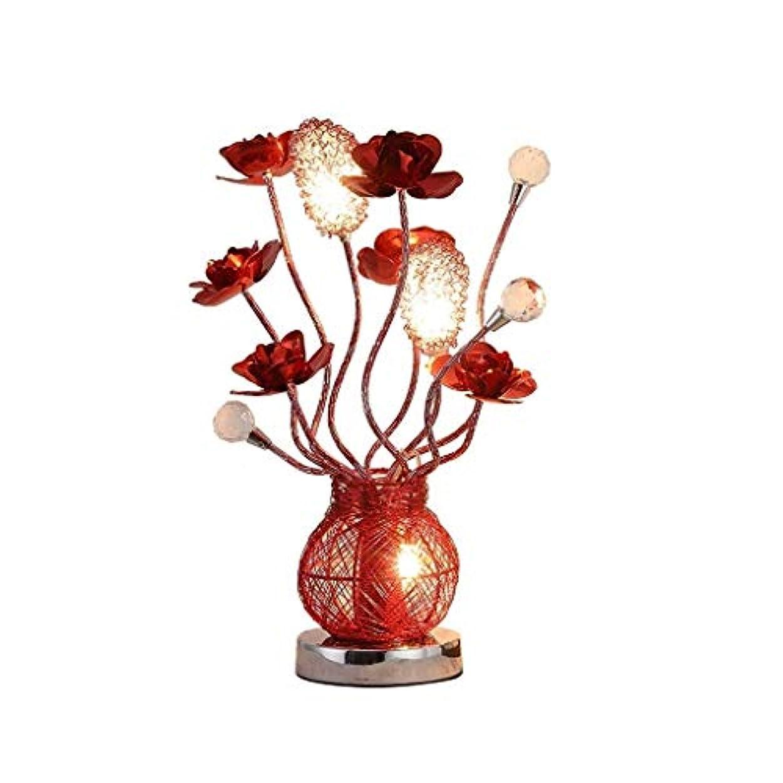 説明する想像力おとこ高品質テーブルランプ 創造的な寝室のベッドサイドクリスタルテーブルランプヨーロッパの赤いバラのギフトLEDナイトライト エネルギーを節約