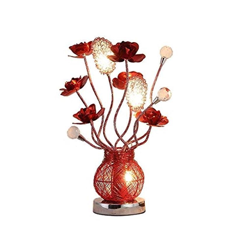 賞賛海岸過度に高品質テーブルランプ 創造的な寝室のベッドサイドクリスタルテーブルランプヨーロッパの赤いバラのギフトLEDナイトライト エネルギーを節約