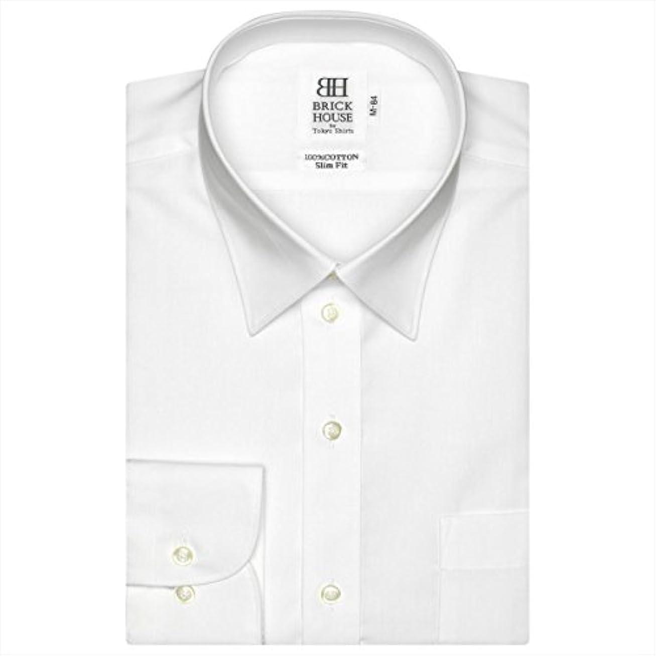 欲求不満スピーチ活発ブリックハウス ワイシャツ 長袖 形態安定 レギュラー 白無地 スリム メンズ BM01X903AB11R4A-96