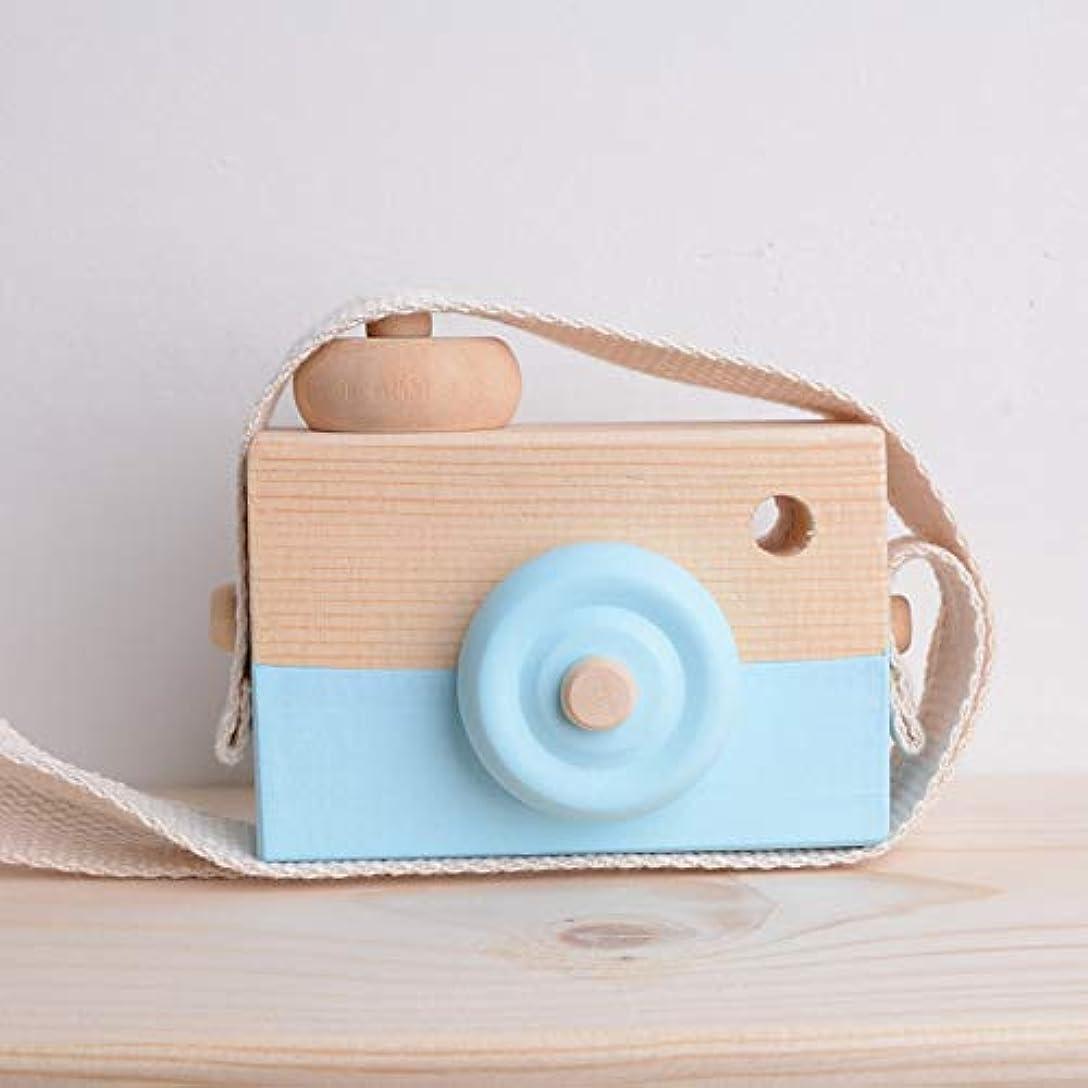 捕虜未使用サドルミニかわいい木製カメラのおもちゃ安全なナチュラル玩具ベビーキッズファッション服アクセサリー玩具誕生日クリスマスホリデーギフト (空色)