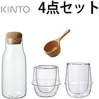 キントー 可愛いダブルウォールコーヒースターター4点セット(グラス2点、ボトル、メジャースプーン)