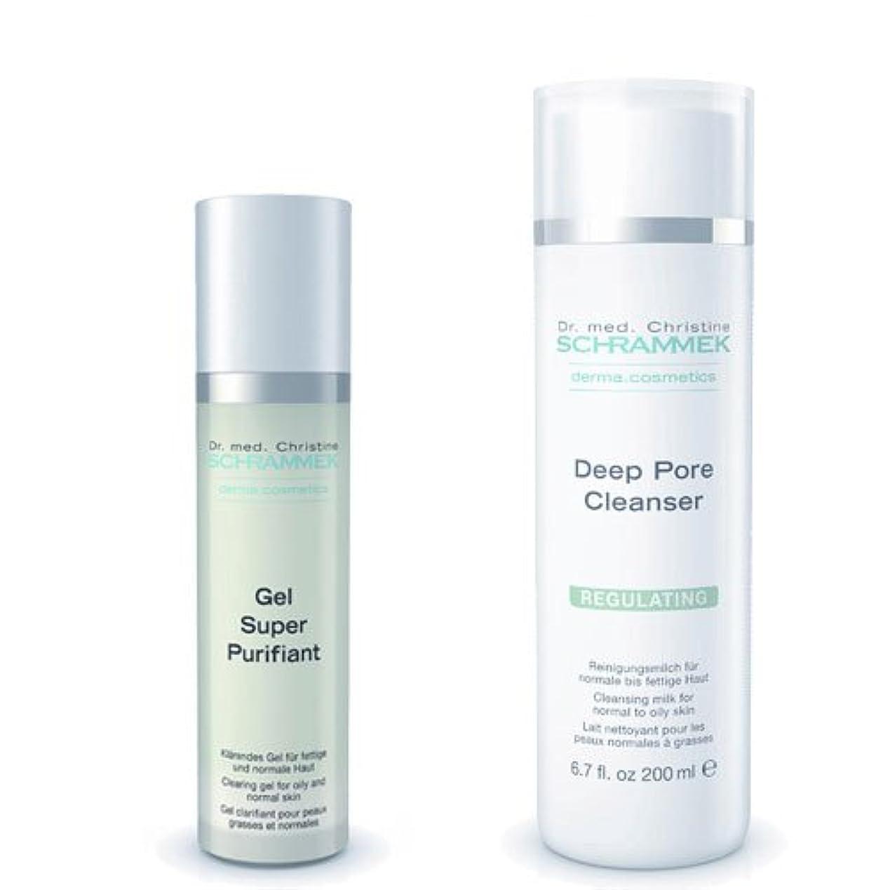 マージン避ける汗シュラメック 「GREEN PEEL 洗顔2点セット(脂性肌用)」 ディープポアクレンザー&ジェルスーパーピュリフィアント
