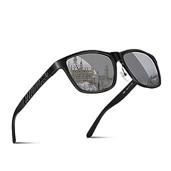 偏光 サングラス ウェリントン 偏光レンズ 釣り ドライブ スポーツ アウトドア ユニセックス JBHOO ポーチセット (ブラックフレーム&銀色レンズ)