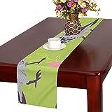 LKCDNG テーブルランナー 緑の木の葉 アニメーション鳥 クロス 食卓カバー 麻綿製 欧米 おしゃれ 16 Inch X 72 Inch (40cm X 182cm) キッチン ダイニング ホーム デコレーション モダン リビング 洗える