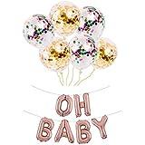 Formemory 風船セット バルーン飾り OH BABY アルミニウム 風船 装飾 ベビー デコレーション用小物 赤ちゃん 出産祝い 誕生日飾り ベビーシャワー ギフト プレゼント ホーム パーティー 結婚式飾り付け (ローズゴールド)
