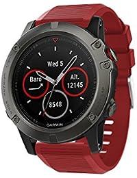 Garmin(ガーミン) Fenix 5X 交換用バンド Comtax 22mm高級 シリコーン製腕時計ストラップ/バンド 交換ベルトor Garmin(ガーミン) Fenix 5X   (レッド)