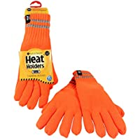 Heat Holders Men's Warm Winter Thermal WRK Work Gloves with reflective stripes