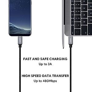 USB Type C ケーブル AUKEY USB-C & USB-C ケーブル USB2.0 ケーブル (1m) Type-C 機器対応 ナイロン編み 3A急速給電 iPad Pro、MacBook Pro、Samsung Galaxy S9 Note 8 S8 S8+、Nexus 6P、Nexus 5Xなど対応 CB-CD5