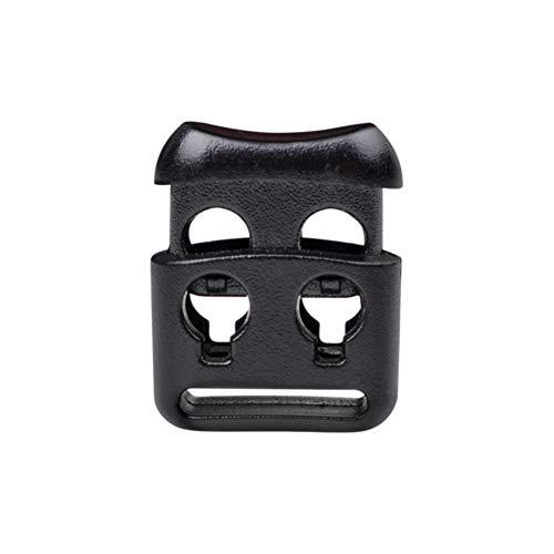 DYZD コードロック コードストッパー 2つ穴 袋物や衣類の紐止めに 10個入り ブラック 4mm