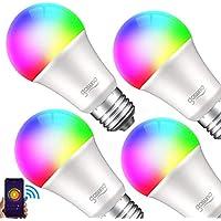 ゴウサンド WiFiスマート電球 スマート LED ランプ マルチカラー E26 スマートライト Alexa/Google home対応 1600万色 追加機器不要 2年保証 4個セット