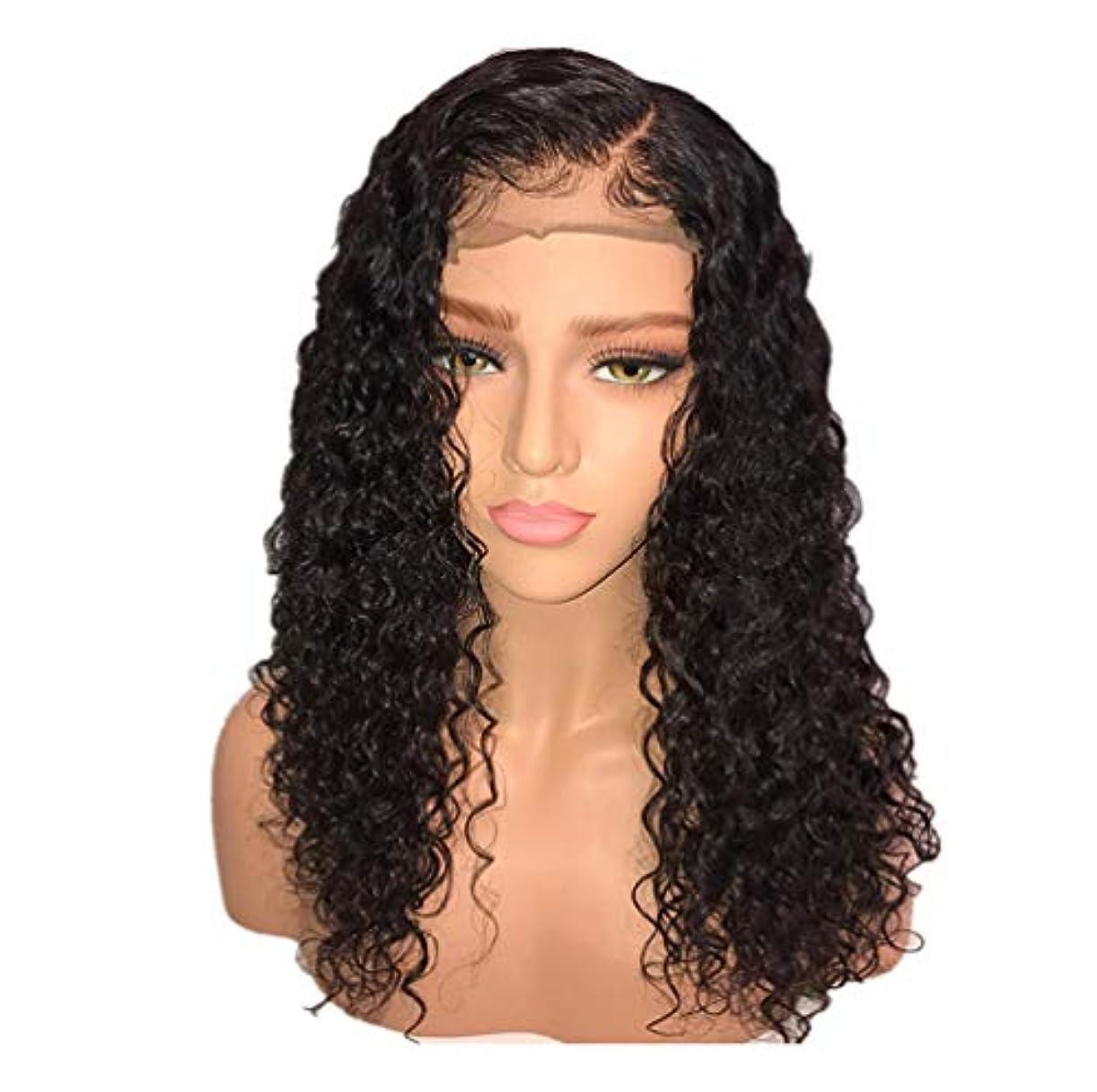 流暢目に見える取り消すかつら女性150%密度ブラジルロングヘアウィッグナチュラルウェーブカーリーレースフロントかつらベビーヘア付き