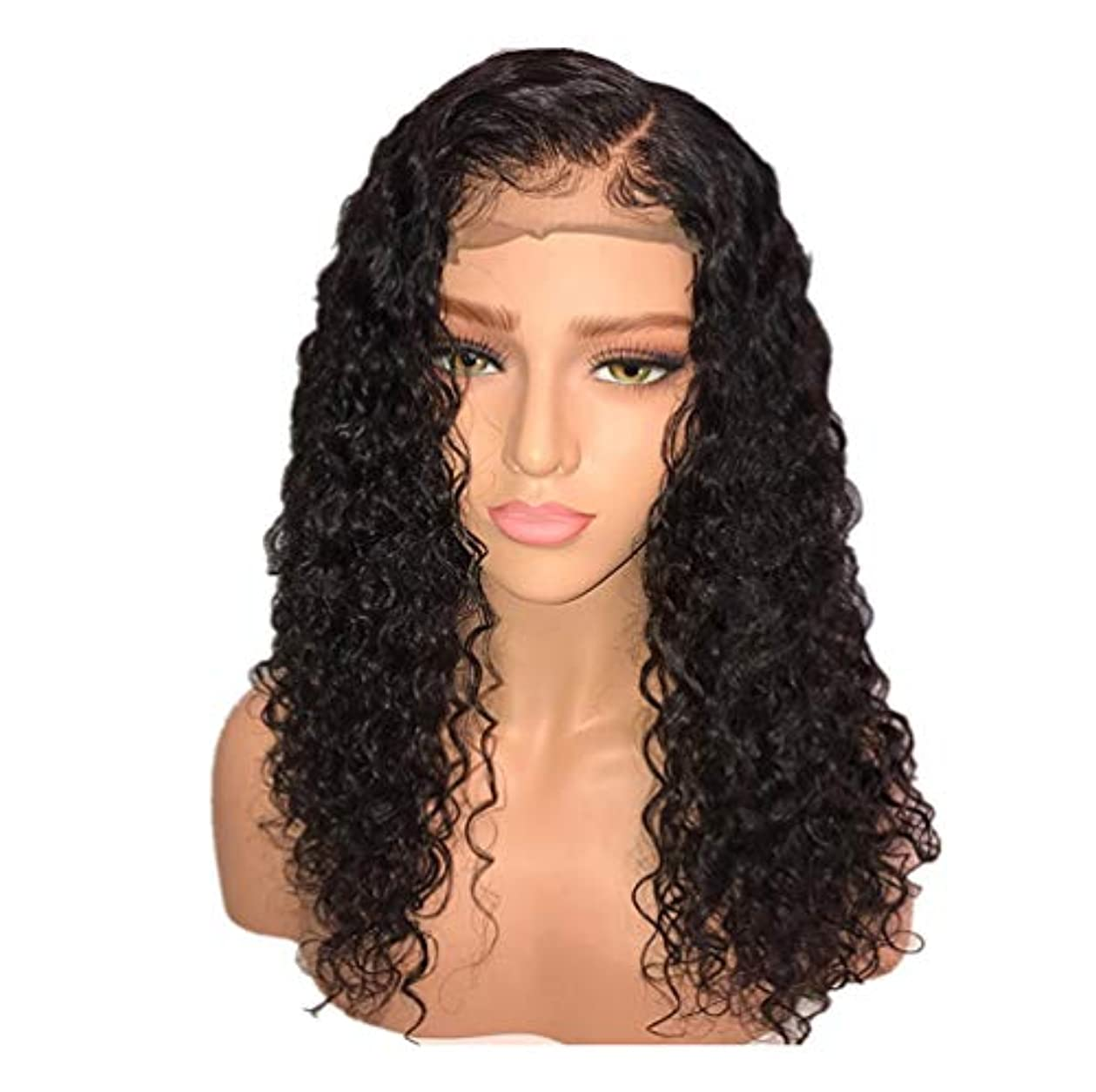失態ブローエゴイズムかつら女性150%密度ブラジルロングヘアウィッグナチュラルウェーブカーリーレースフロントかつらベビーヘア付き