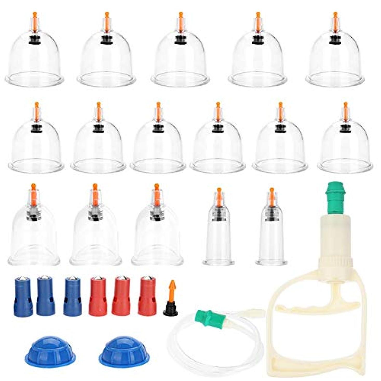 スタンドポスター技術カッピング - Delaman cupping、吸い玉カップ、真空吸引カッピングキット、マッサージカッピングセット、グリップハンド 真空ポンプ