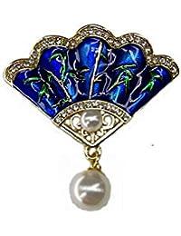 SKZKKカラフルなジュエリー用女性塗装クリスタルファンフラワーエナメルピン、レトロ中空真珠インレイペンダントセーターブローチクリップシンプルでエレガントなブルー